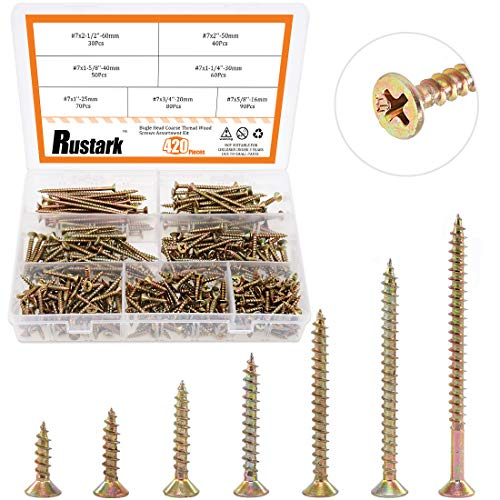 Rustark 420 Pcs [#7 5/8'' to 2-1/2''] Zinc Plated Coarse Thread Phillips Drywall Screws with Bugle Head Assortment Kit for Drywall Sheetrock and Wood