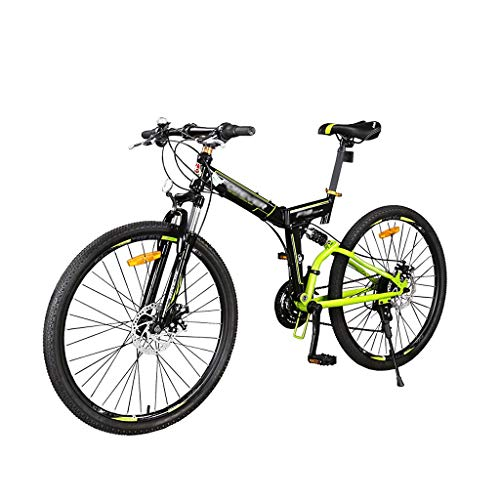 Shi xiang shop Mountain Bikes 26 Inch for Adults, Foldable Bicycle High Carbon Steel Frame 24 Speed, Fully Suspention, Unisex, Dual Disc Brakes Mountain Bicycle (Color : Green+Black)
