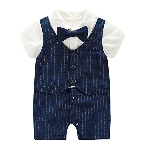 Fairy Baby Baby Outfits Jungen Smoking Anzug Kurze Abendkleider Festliche babymode Kleidung mit Fliege Strampler, Navy blau Streifen, 0-3 Monate