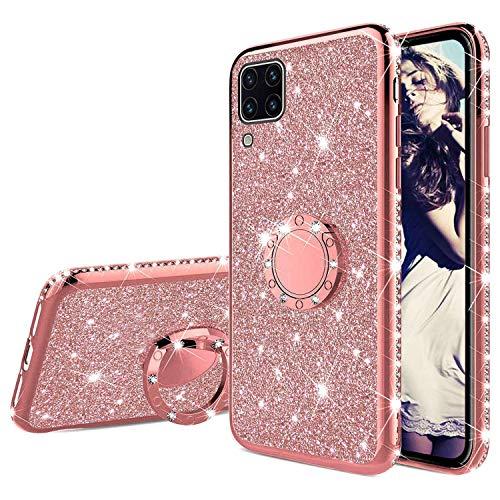 Misstars Glitter Funda para Huawei P40 Lite Oro Rosa, Ultra Delgada Diamante Brillante Silicona TPU Gel Bumper con 360 Grados Rotación Anillo Antichoque Cover para Huawei P40 Lite