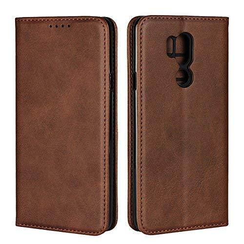 Copmob Hülle LG G7 ThinQ,Premium Flip Leder Brieftasche Ledertasche Handyhülle,[3 Kartensteckplatz][Ständerfunktion][Unsichtbarer Magnetverschluss],Schutzhülle für LG G7 ThinQ - Dunkelbraun
