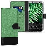 kwmobile BlackBerry KEYone (Key1) Hülle - Kunstleder Wallet Case für BlackBerry KEYone (Key1) mit Kartenfächern & Stand - Dunkelgrün Schwarz