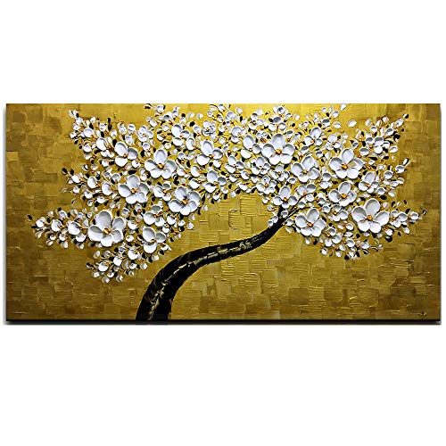 """Desihum - 3D Golden and White Flowers Wall Art Stretched Canvas Art Set Framed Ready to Hang for Living Room Office Hotel(24""""x48"""")"""