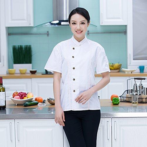 Homyl Männer Frauen Denim Kochjacke Knöpfe Bäckerjacke Gastronomiebekleidung Kochhemd Arbeitskleidung für Koch Köche – Blau, XL - 4