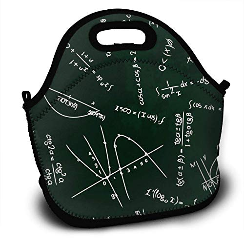 Lunch Bag, Trigonometrische Funktion Mathematische Formel auf schwarzen Lunch-Tragetaschen Lunch Bag Lunchboxen Handtasche Luxus-Kinder-Lunchrucksack 27,5 x 29 x 14,5 cm