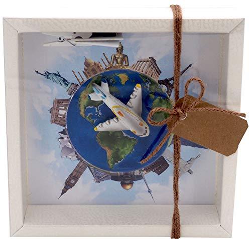 ZauberDeko Geldgeschenk Verpackung Reise Urlaub Weltreise Flugzeug Geldverpackung Gutschein Around The World