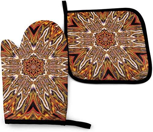 GOSMAO Oven Mitt And Pot Holder Sets Oriental Ornament Mosaic Orange White Plumerias Heat Resistant Kitchen Polyester Set For Cooking,Baking,Grilling