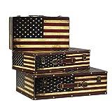GPWDSN Caja Decorativa Cofre del Tesoro de Madera Caja del Tesoro Decorativa Caja de Maleta Cajas Nido Vintage Caja del Tesoro 3 Cajas de Edad (B, Tamaño