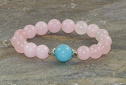 Pulsera de Cuarzo rosa de 10 mm y Cuarzo azul de 12 mm, Pulsera Femenina, Pulsera de Mujer, Energía...