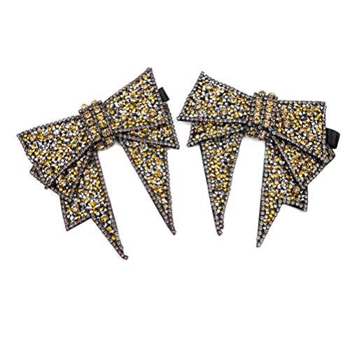 HEALLILY Cristal bowknot hebilla de zapato rhinestone clips de zapato decoración de...
