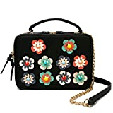 Cute Crossbody Bags for Women with Multi Color Flower Design - Square Womens Crossbody Purse - Lovely Summer Bags for Women - Vegan leather Double Zipper Wallet Bag - Adjustable Strap (black)