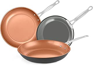 SWIFLON Nonstick Frying Pan Set 3-Piece Skillet Set for Egg 8,10 and 11Inch Copper Frying Pan Easy Cleanup with Stainless Steel Handle