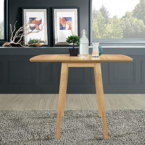 GOLDFAN Drop Leaf Dining Table Oak Rectangular Small Wooden Kitchen Table...