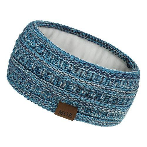 Winter-Ohrenwärmer, Stirnbänder für Damen, weich, warm, gestrickt, mit Fleece gefüttert, Haarband, Blau