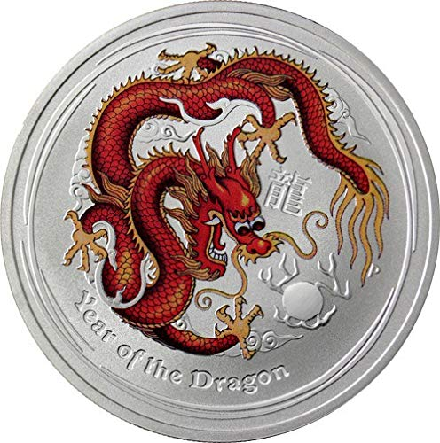 Lunar Drache 2012 rot farbig coloriert 1 Unze Silber Münze Silbermünze Australien 1 oz silber in Münzkapsel