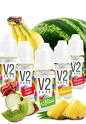 V2 Vape Set Fruchtbombe AROMA / KONZENTRAT hochdosiertes Premium Lebensmittel-Aroma zum selber mischen von E-Liquid / Liquid-Base für E-Zigarette und E-Shisha 5x10ml 0mg nikotinfrei