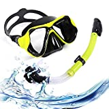 ORCCAC Juego de Snorkel con máscara antivaho de Vidrio Templado, Kit de Buceo con laringoscopio Snorkel a Prueba de Fugas, Adecuado para Buceo de Adultos y Adolescentes (Color : Yellow)