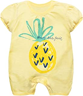 Fairy Baby Newborn Baby Girls Summer Outfit Infant Cotton Onesie Fruit Print Shirts Romper