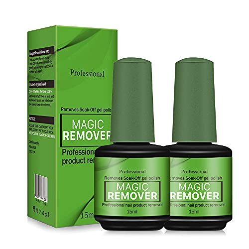 Gel Nail Polish Remover, (2Pcs) Easily & Quickly Removes Soak-Off Gel Polish, Don't Hurt Nails, Professional Non-Irritating Nail Polish Remover-15ml