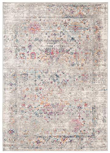 Carpeto Rugs Teppich Wohnzimmer Kurzflor Vintage Look Abstraktes Orientalisch Muster - Niedrigflor Teppich für Wohnzimmer, Schlafzimmer, Esszimmer - Versch. Größen Grau 300 x 400 cm