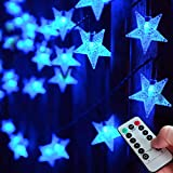 Abkshine Blue Fairy Lights, Battery Operated Star Lights String with Timer, Battery LED Lights for Indoor Bedoorm Outdoor Chirstmas Hanukkah Decorations(25ft, 50 LED)