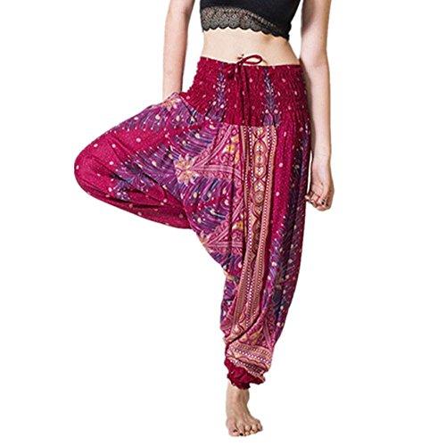 TUDUZ Pantalones Hombre MujerDe Harén Tailandés Pantalones De Yoga Boho FestivalHippy Pantalones Cintura Alta (VinoF, F)