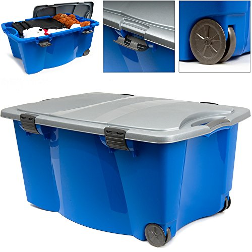 Deuba Caisse en Plastique Bleu/Gris 170 litres 2 poignées 4 fermoirs Rangement Maison