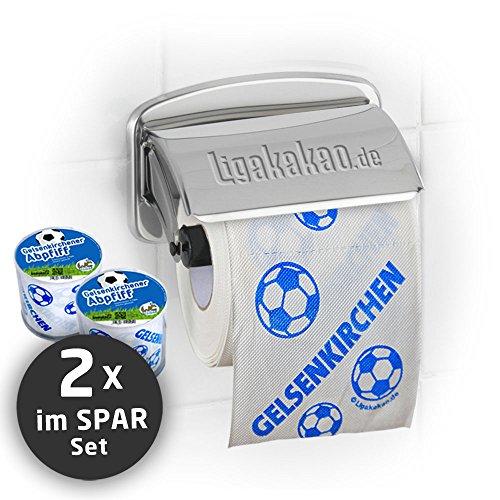 Klopapier Schalker Abpfiff (2 Rollen Sparpack) | Dieses Toilettenpapier Macht das Klo von Dortmund-, Bayern- & Fußball-Fans zur Schalke-Kultschüssel | Geschenkidee für Männer & Freunde