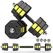 #LightningDeal PANMAX Adjustable Dumbbells Barbell Set of 2, UP to 44/66 lbs Free Weight Set with Connector, 3 IN 1 Dumbbell Barbells Set for Home Gym Fitness Exercises for Men / Women