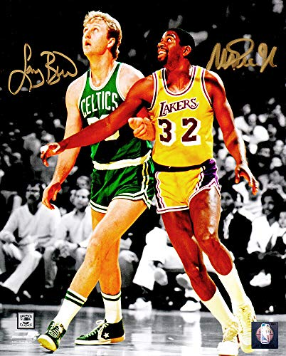 Larry Bird & Magic Johnson Dual Signed Celtics vs Lakers NBA Action Spotlight 8x10 Photo - Larry Bird Authentic