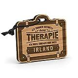 Fashionalarm Schlüsselanhänger Therapie - Irland aus Holz mit Gravur | Geschenk-Idee Spruch Urlaub Reisen Wandern Dublin Galway Cork Atlantik, Eiche