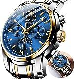 Relojes mecánicos automáticos para hombres, sin batería reloj de cuerda automática impermeable acero inoxidable marca suiza relojes de pulsera de lujo dos tonos luminosos mes-año-y-luna fase