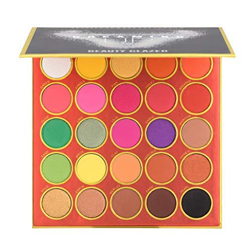 25 Farben Lidschatten Palette Bunt Eyeshadow Nudetöne Regenbogen Color Board Schminkpalette Set Vegan Matt Schimmern Pigmentierter Bunte Glitzerfarbe Makeup Professionelles Eye Shadow Cosmetics (Red)