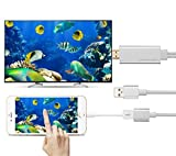 Mirascreen USB to HDTV Cable, Wire Dongle USB Male + USB Female to HDMI Male 1080P HDTV Mirroring Cable for iPhone 8X/8 iPhone 7 /7Plus, 6s, 6s Plus, 6, 6 Plus Steaming Sharing - White