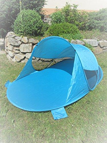 IMC Manufactoria Pop-Up Strandmuschel blau Wurf-Zelt Strand Camping Sonnen-Schutz Wind XXL Familien Kinder Baby türkis