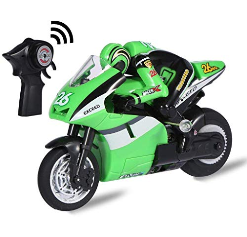 Top Race 4 Channel RC Remote Control Motorcycle Goes on 2 Wheels with Built in Gyroscope, 1:20 Scale … (Green)