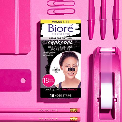 Bioré Charcoal, Deep Cleansing Pore Strips, 18 Nose Strips for Blackhead Removal on Oily Skin, with Instant Pore Unclogging, features Natural Charcoal, 3x Less Oily Feeling Skin