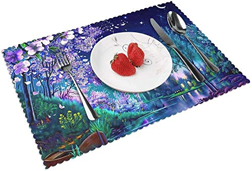 Purple Night Moon Landscape Tischsets für Esstisch, leicht zu reinigende hitze- und schmutzabweisende rutschfeste waschbare Tischsets, Home Kitchen Decor
