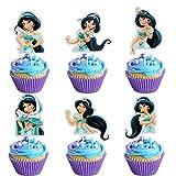 LYNHEVA Glitter Jasmine Inspired Cupcake Topper, Aladdin Theme Birthday Party Suppliers, Disney Princess Jasmine Cupcake Decoration, Girls Princess Party Favor