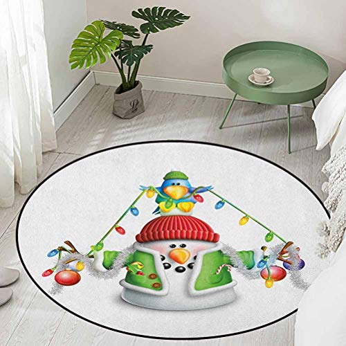 Round Large Floor Mats for Living Room Colorful Cartoon Whimsical Character with Christmas Garland Blue Bird Various Xmas Elements Diameter 60 inch All Weather mats