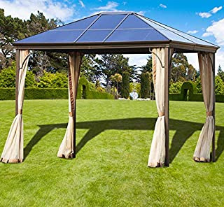 Superday Outdoor Garden Gazebo 12' x 10' Patios Gazebo Canopy Permanent Aluminum Hard PC Top Mosquito Netting