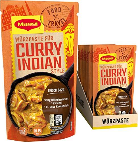 Maggi Food Travel Würzpaste Curry Indian Style (Ohne Konservierungsstoffe, Vegetarisch), 10er Pack (10 x 65g)