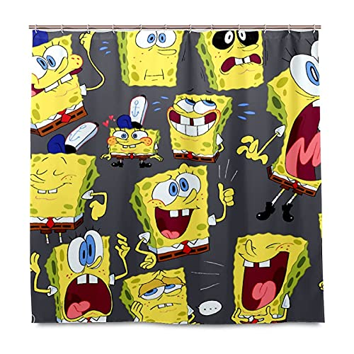 XXzhang Spongebob Vector Cartoons Duschvorhang mit Haken – 60 x 72 Zoll wasserdichter Standard Duschvorhang für Badezimmer, Dusche, Badewannenvorhang-Sets mit 12 Haken