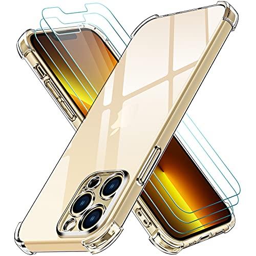 ivoler Funda Compatible con iPhone 13 Pro con Protección de La Cámara y 3 Piezas Cristal Templado, Carcasa Protectora Anti-Choque Transparente, Suave TPU Silicona Caso Delgada Anti-arañazos Case