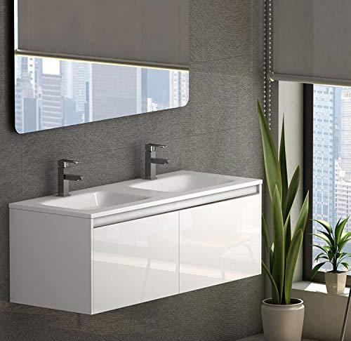 Becrisa Mueble de Baño Grande con Lavabo Blanco 120cm Sky – Suspendido para Colgar | Lavabo Doble Seno | 2 cajones de 60cm | Cierre amortiguado | 120x45x41