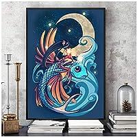 アートパネル PIPAO 水彩海の動物キャンバス壁アートHDプリントポスターホーム漫画装飾絵画寝室モジュラー写真 15.7x19.7in(40x50cm)x1pcs フレームなし