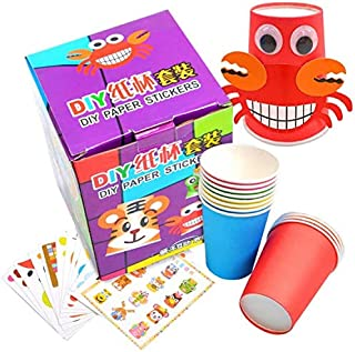 Mumoo Bear Crafts Paper Cups Art Kit Kids Crafts Art Toys DIY Crafts Toys for Kids Children 12 pcs Paper Cup and 12 pcs St...