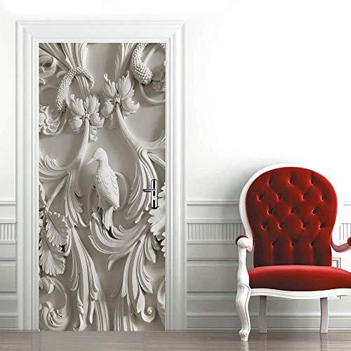 Pegatinas 3D para puerta de interior de puertas autoadhesivas, para dormitorio, casa, dormitorio, oficina, baño, decoración del hogar, 77 x 200 cm, escultura de yeso