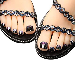 24Pcs False Toe Nail for Women and Girls Glitter Decorated Full Cover Press On Fake Toenails with Glue