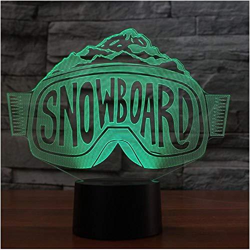 Nachtlicht 3D Led Skibrille Modellierung Nachtlichter Farbverlauf Tischlampe Schlafzimmer Nacht Dekor Snowboard Schlaf Weihnachtsgeschenke-Remote And Touch